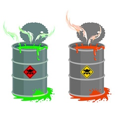 Barrel of toxic waste biohazard open container vector