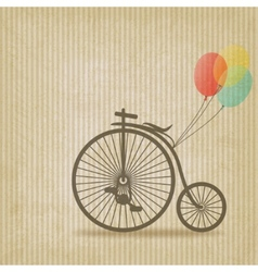 Bike with balloons retro striped background vector