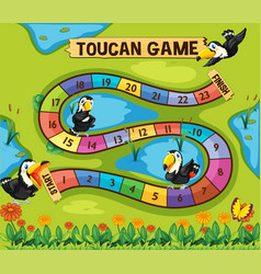 Boardgame template with toucan birds in park vector