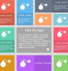 Bomb icon sign set of multicolored buttons with vector