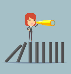 Businesswoman search strategy on domino vector