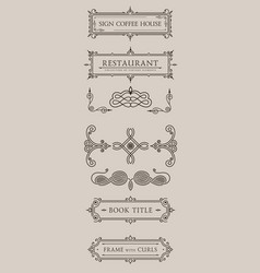 calligraphic design elements baroque set vector image vector image