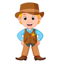Cartoon cowboy with a gun vector