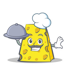 Chef cheese character cartoon style with food vector