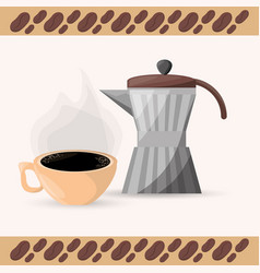 Coffee maker and cup aroma vector