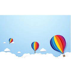 Colorful hot air balloons flying on blue sky vector