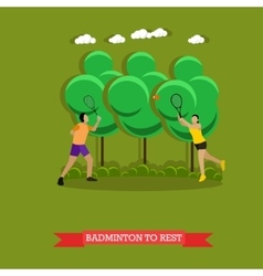 Couple is playing badminton outside Flat design vector image vector image