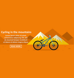 cycling in the mountains banner horizontal concept vector image