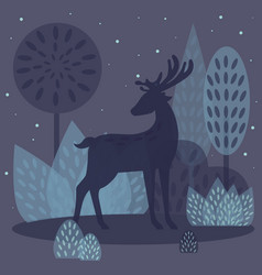 Deer in winter forest vector