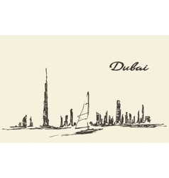 Dubai skyline silhouette drawn vector image