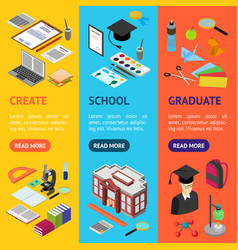 education school banner vecrtical set isometric vector image vector image