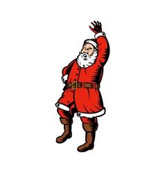 Father christmas santa claus waving hello standing vector