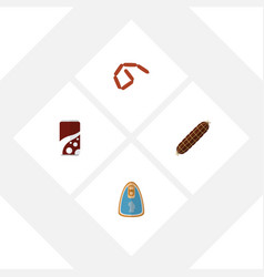Flat icon meal set of smoked sausage fizzy drink vector