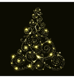 floral glowing christmas tree vector image vector image