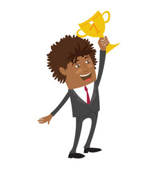 funny black businessman wearing suit hold winner vector image