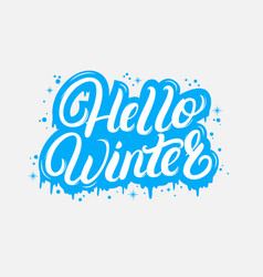 hello winter hand written lettering quote vector image vector image