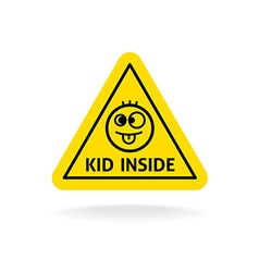 Kid inside fun sign Baby on board concept Car vector image
