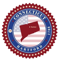 Label sticker cards of state connecticut usa vector
