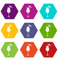 Layered cocktail with umbrella icon set color vector