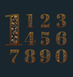 Numbers with elegant floral vector