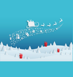 Paper art concept of christmas with santa claus vector