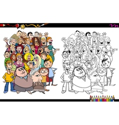 People in crowd coloring page vector
