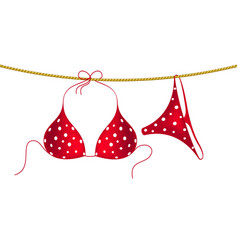 Red bikini suit with white dots hanging on rope vector