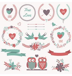 Romantic set with bouquets birds hearts arrows vector