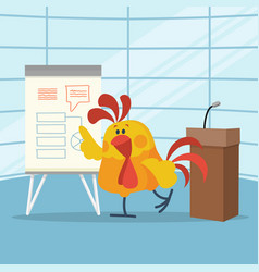 Rooster builds business plans flat concept vector