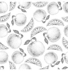 Seamless orange pattern fresh fruit sketch vector