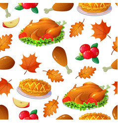 seamless pattern with thanksgiving turkey vector image
