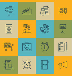 set of 16 project management icons includes board vector image