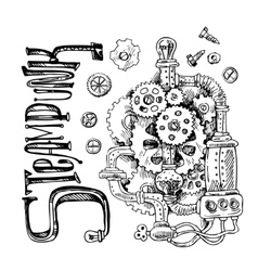 sketch steampunk mechanism vector image