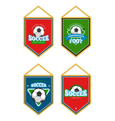 soccer club pennants set with logo templates vector image vector image