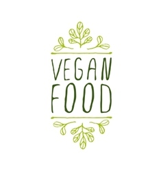 Vegan food - product label on white background vector image