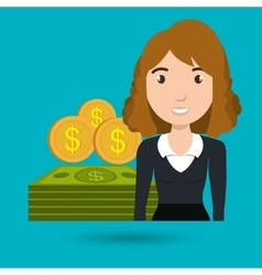 Woman dollar money vector