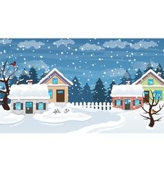 Winter village scene vector image