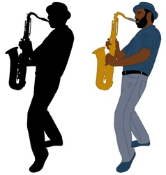 Musician plays saxophone vector