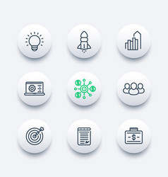 Startup line icons set product launch development vector