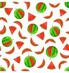 Whole and sliced watermelon seamless pattern vector