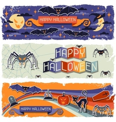 Happy halloween grungy retro horizontal banners vector