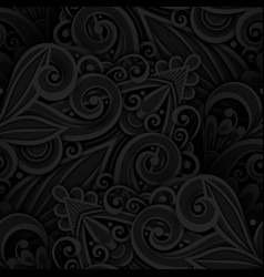 Dark seamless pattern with floral ornament vector