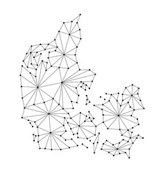 Denmark map of polygonal mosaic lines rays vector