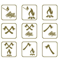 Set of campfire icons vector