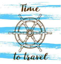 travel background with handwheel vector image