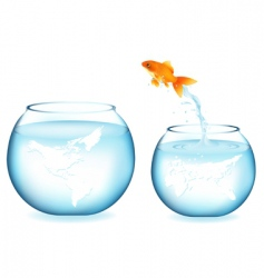 jumping goldfish vector image