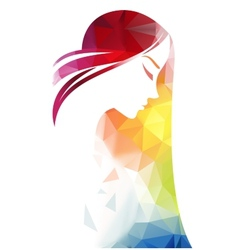Abstract modern background with woman face vector image