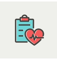 Heartbeat record thin line icon vector