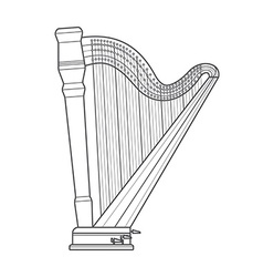 Dark outline pedal harp technical vector
