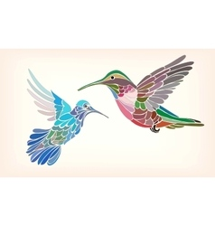 Two hummingbirds in stylized vector